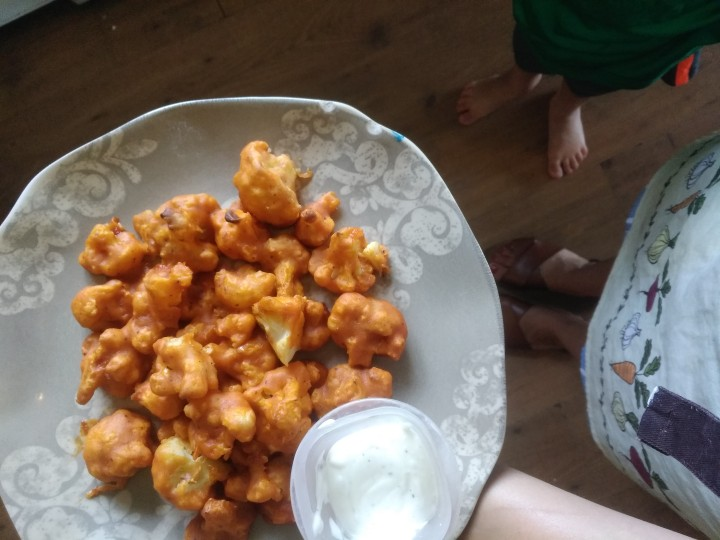 Buffalo Cauliflower and Sweet PotatoFries